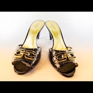 COACH Justeen Black & Gold Logo Sliders-Size 8.5